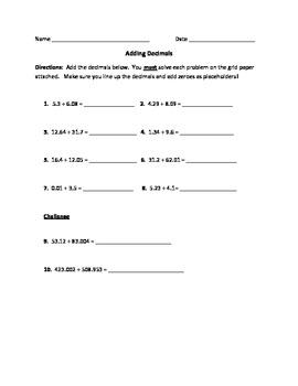 Adding Decimals Worksheet