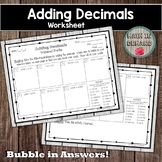 Adding Decimals Worksheet Practice