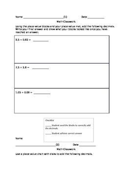 Adding Decimals Worksheets