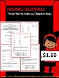 Adding Decimals Worksheets (Set of three w/ answers)