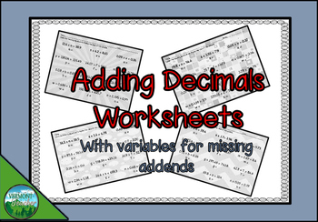 Adding Decimals Worksheets with Missing Addends using Variables