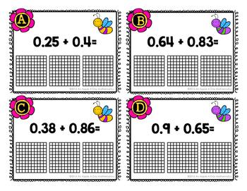 Adding Decimals using Models Task Cards