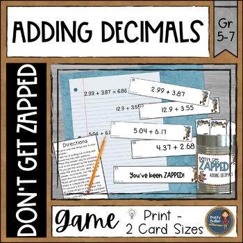 Adding Decimals Don't Get ZAPPED Math Game