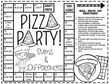 Adding Decimals and Subtracting Decimals Game: 5th Grade Math Game