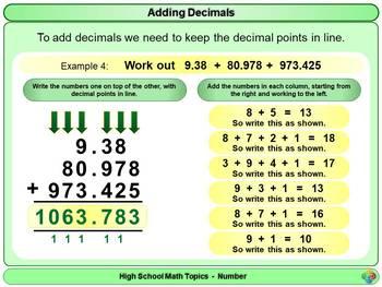 Adding Decimals for High School Math