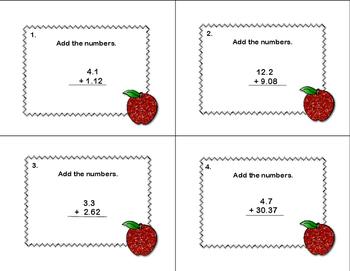 Adding Decimals to Hundredths-40 Math Task Cards