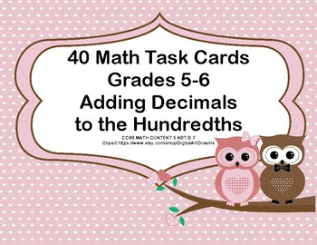 Adding Decimals to Hundredths-Task Cards-Valentine's Day