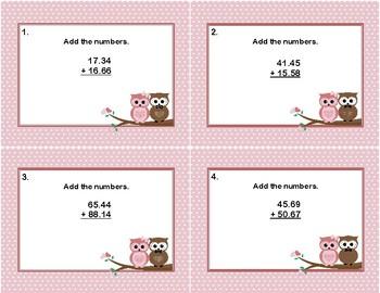 Adding Decimals to Hundredths-Task Cards-Valentine's Day