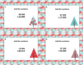 Adding Decimals to Thousandths-Grades 5-6-Task Cards-CCSS 5.NBT.B.7