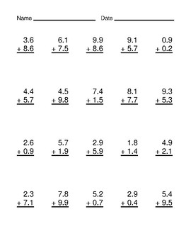 Adding Decimals to the Tenths Place Worksheet Bundle