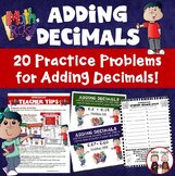 Adding Decimals to the Tenths and Hundredths Activity