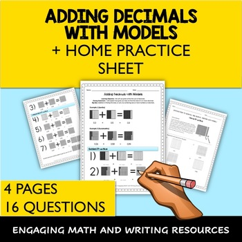Adding Decimals with Models Worksheet + Home Practice