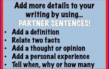 Adding Details in Writer's Workshop with Partner Sentences