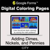 Adding Dimes & Nickels & Pennies - Digital Coloring Pages