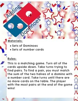 Adding Dominoes Matching Game