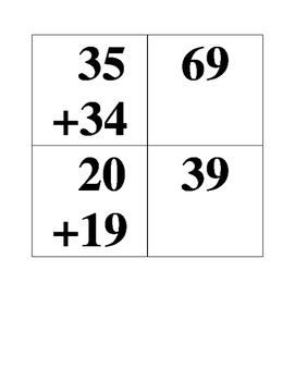 Adding Double Digits Without Regrouping Cards