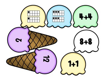 Adding Doubles Double Scoop Ice Cream Matching Game