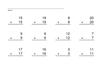 Adding Doubles, Doubles + 1, Doubles + 2 PowerPoint Quiz-Worksheets & Keys Too!