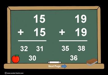 Adding Doubles, Doubles + 1, Doubles + 2 PowerPoint Quiz-W
