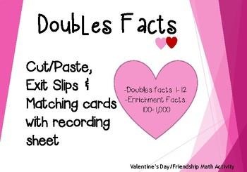 Adding Doubles Hearts + Place Value + Enrichment Activities