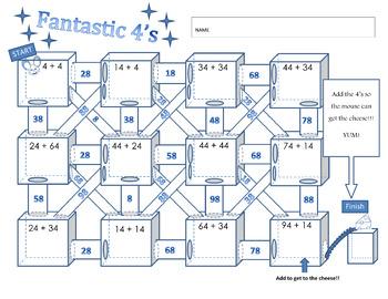 Adding Doubles Maze:  Fantastic Fours