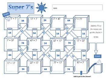 Adding Doubles Maze: Super Sevens