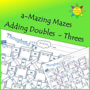Adding Doubles Mazes:  Thoughtful Threes