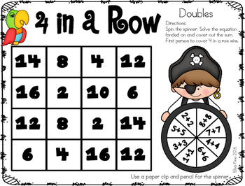Adding Doubles Spinner Game (Pirate Theme)