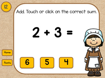 Adding Doubles and Doubles Plus One  Thanksgiving Pilgrims  PowerPoint Activity