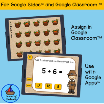 Adding Doubles and Doubles Plus One Thanksgiving Pilgrims for Google Classroom™
