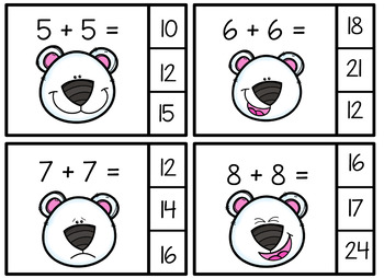 Polar Bear Faces Themed Math Center Activiy with Task Cards and More