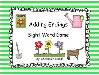 "Adding Endings ""ed"" and ""ing"" Sight Word Game"