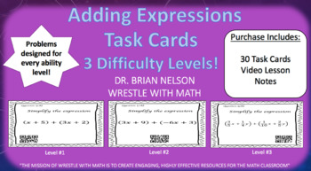 Adding Expressions (30 Task Cards – 3 different levels!)