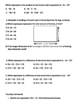 Adding Expressions Homework and Daily Grades