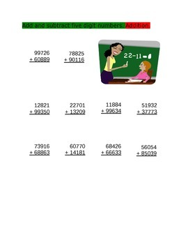 Adding Five digit numbers for 4th Grade
