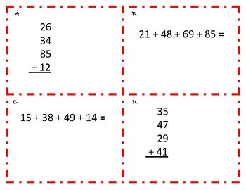Adding Four 2 Digit Numbers