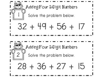 Adding Four 2 Digit Numbers Task Cards