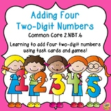 Adding Four Two-Digit Numbers - Common Core 2.NBT.6 Math Task and Printables