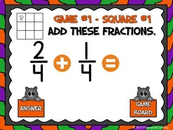 Adding Fractions Halloween PPT Game