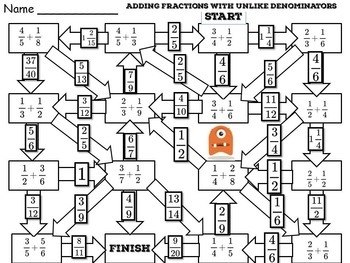 adding fractions maze game activity by idea galaxy tpt