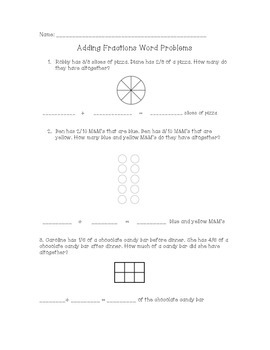 Adding Fraction Word Problems