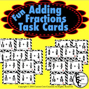 Adding Fraction Task Cards