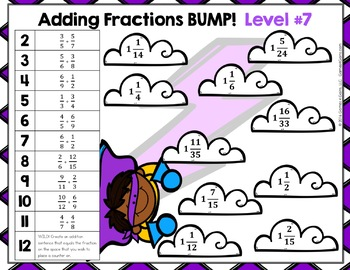 DIFFERENTIATED Fraction Addition Games: Adding Fractions & Adding Mixed Numbers