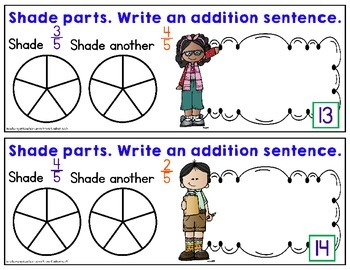 Adding Like Fractions - Adding Fractions with Like Denominators Task Cards