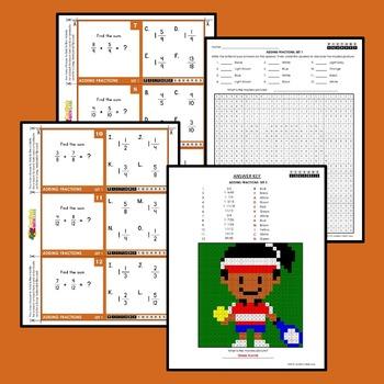 Adding Fractions Worksheets / Task Cards, Adding Fraction Activity