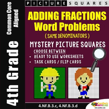 4th Grade Adding Fractions Word Problems (with Like Denominators) Coloring Sheet
