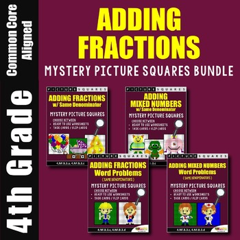 Adding Fractions and Adding Mixed Numbers Mystery Pictures Bundle