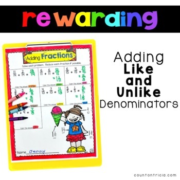 Adding Fractions Color by Number Activities