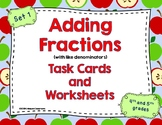 Adding Fractions Task Cards and Worksheets (with like denominators)