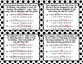 Adding Fractions 60 Task Cards 5th Grade FSA Style Questions INK SAVER Version